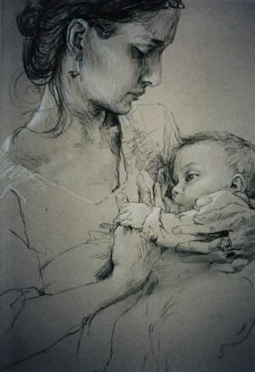 breastfeeding art, Kartenmotiv-e-christoph-wetzel
