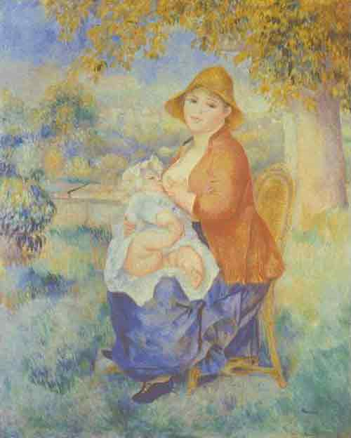 breastfeeding art - feeding, auguste renoir