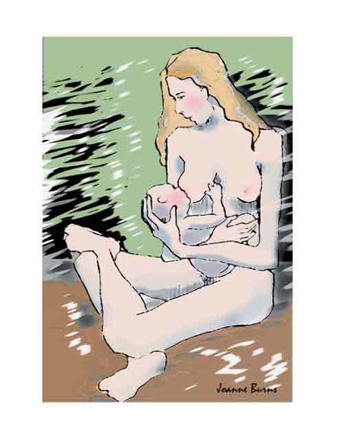 breastfeeding art - nursing nude, joanne burns