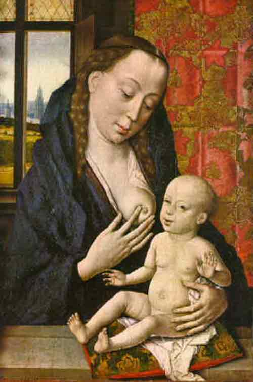 breastfeeding art - virgin and child, thierry bouts