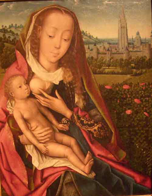 breastfeeding art - virgin and child, clark museum