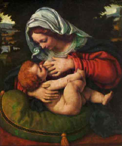 breastfeeding art - virgin of the green cushion, solario