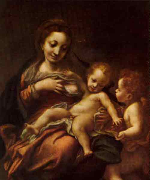 breastfeeding art - virgin of the milk, correggio