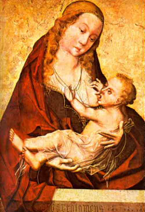 breastfeeding art - virgin of the milk, bermejo